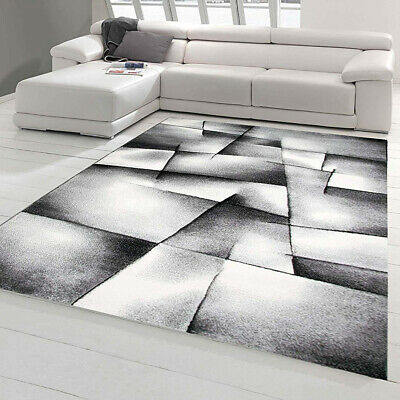 Grey Rug Abstract Black and Silver Bedroom Floor New Carpet Modern Pattern Mat