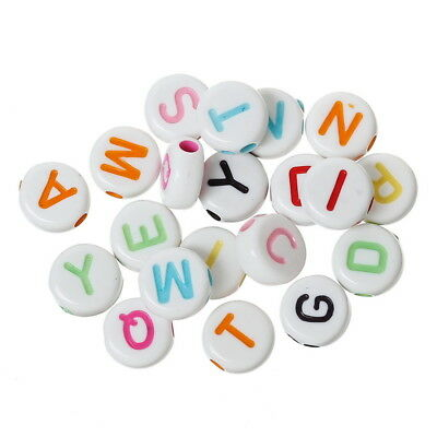 BO 1000PCs Multi-color Round Acrylic Beads Carved Letters/Alphabets 7 x7mm
