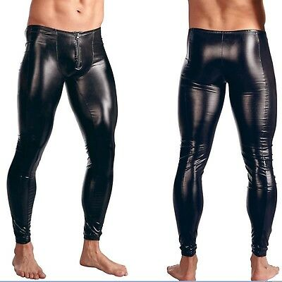 Latex Look Black Sexy Men's Leggings Trousers Front Zip Gay