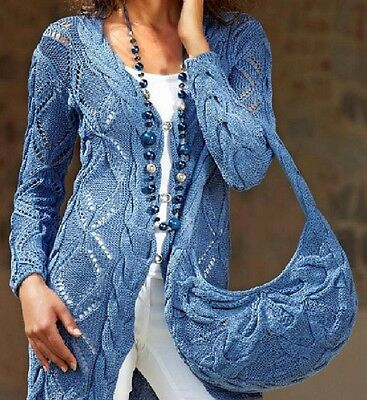 Vintage Knitting Pattern Ladies Long Lacy Cardigan with Shoulder Bag