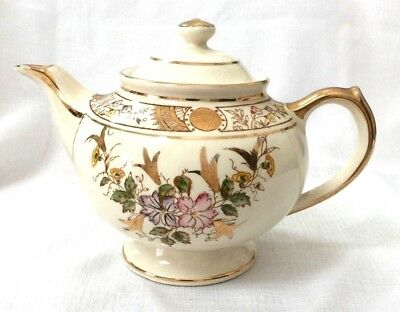 Chelsea Gibson England Floral and Gold Teapot