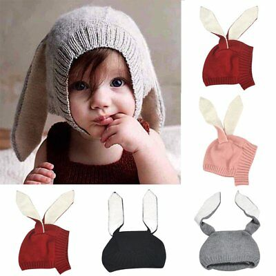 Toddler Kids Girl&Boy Baby Winter Warm Knitted Rabbit Crochet Ear Beanie Hat M2