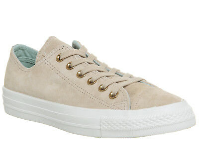 Womens Converse Allstar Low Leather PARTICLE BEIGE OCEAN BLISS WHITE Trainers Sh