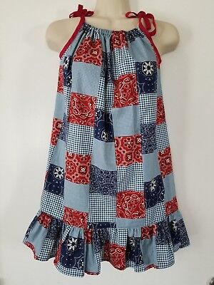 Michael Miller Bandana Patchwork Red/blue Patriotic 4th of July Dress w/Glasses