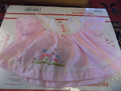 Vtg Embroidered Birds Flowers Baby Girl Pink Lace Dress 6-9 Mo Celanese Fortrel