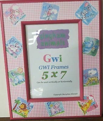 Pink Gingham Design  Animals 5 x 7 Frame Can hang or sit with glass Not Fabric
