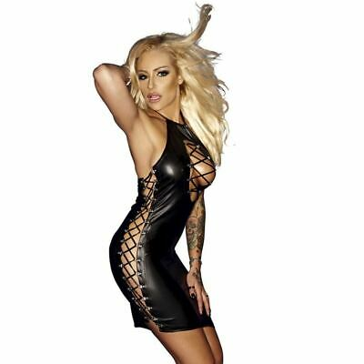 LH Sexy Wet Look Bodycon Black Dress Mini Nightwear Short Party Outfit Halter