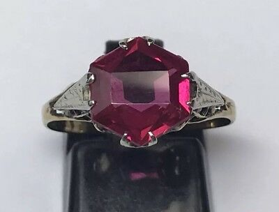 Antique Art Deco 14K Yellow Gold 2Ct Synthetic Ruby Ring Filigree Ornate Sz 8.75