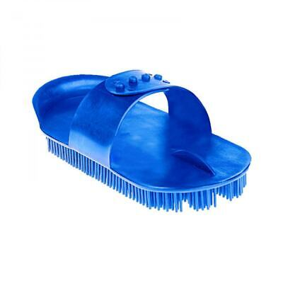 Horze Plastic Curry Comb with Small Bristles for Horse Grooming - Blue