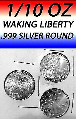 1/10 Oz Walking Liberty Bright Clear .999 Silver Rounds, Lot Of 3.===Silver=====