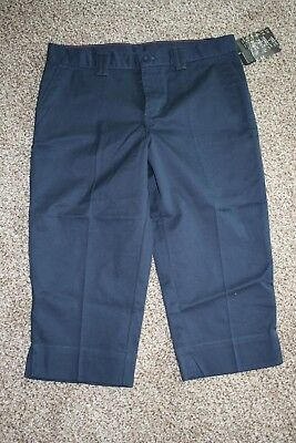 Nwt Girl's Dickies Stretch Flat Front Slim Capri Pants Size 16 Reg Navy Blue