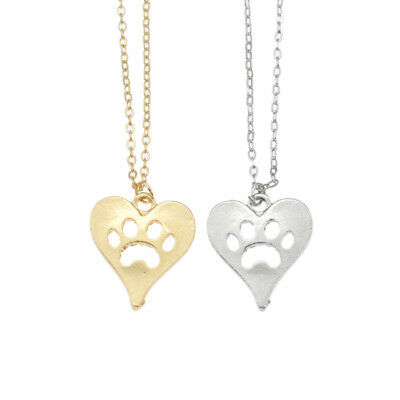 Heart Cat Paw Pendant Necklace Women Chic Alloy Chain Cat Dog Pet Lover Jewelry