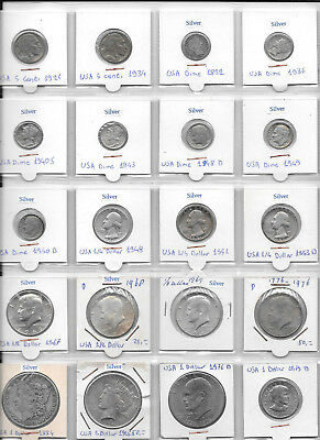 USA LOT OF 20 COINS 5 Cents - 1 Dollar 1892 -1979 Incl. Silver And Rare Coins Y7