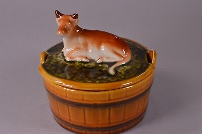 Vintage Retro Ceramic Barrel Dairy Cow Lid Traditional Butter Dish