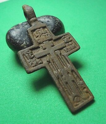Ancient Bronze Cross Wearable Pendant Antique Rare C9