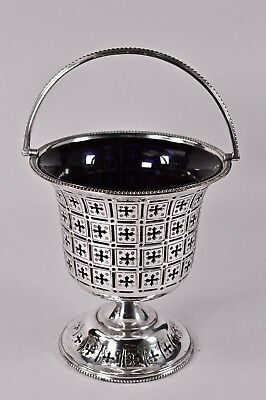Antique Silver Plated Pierced Goblet Sugar Basket Bowl Blue Glass Liner Bon bon