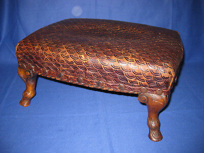 Antique Victorian Wood Carver Hoot Foot Footstool Leather Upholstered