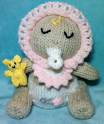 KNITTING PATTERN - Baby Girl Choc orange cover / 16 cms Pink Baby Shower Toy