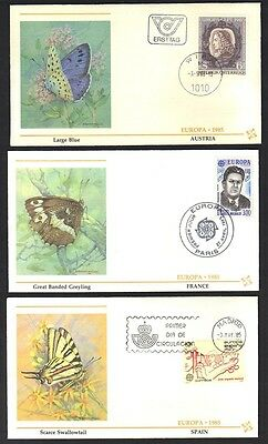 EUROPE 1980's BUTTERFLIES EUROPA COLL OF 13 FDC's FROM CYPRUS GREECE UK SWEDEN