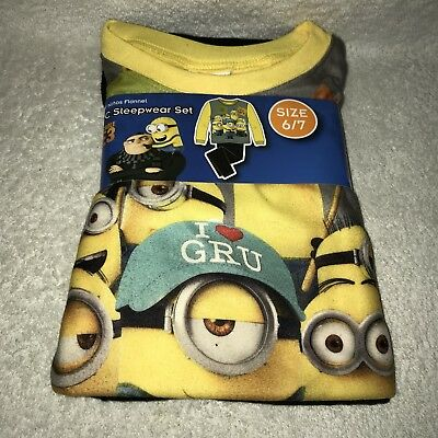 Despicable Me 3 Minions Boys 2 Piece Flannel Pajama Sleepwear Set Size 6-7 NEW