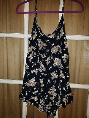 Brandy Melville Black Open Back Spaghetti Strap Flowy Floral Top Women's One Siz