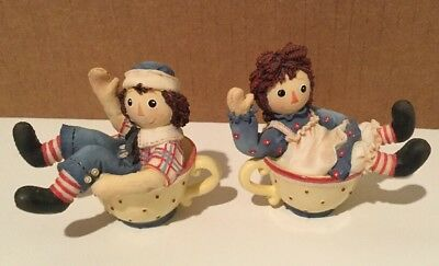 Raggedy Ann & Andy In Teacups Pr Of 2 Enesco Teatime Set Figurines