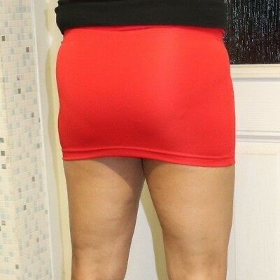 Red Mini Short Skirt Women's Ladies Plain Stretchy Bodycon High Waist Girls 050