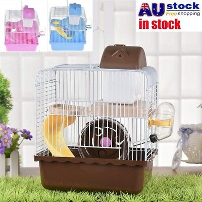 AU 2 Layer Mouse Cages Pet Mice Fun Interactive House Fancy Game Tube Set & Bowl
