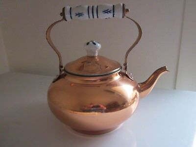 Copper Kettle with Porcelain Handle Decorative and useful. NEW