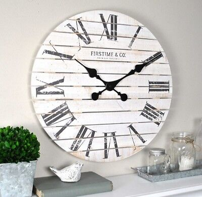 "18"" Farmhouse Clock Wall Mount Coastal Living Room Distressed Modern Large White"