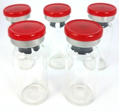 (50) 10mL Sterile Clear Glass Vials USP - Red Flip Top Seals - FREE SHIPPING