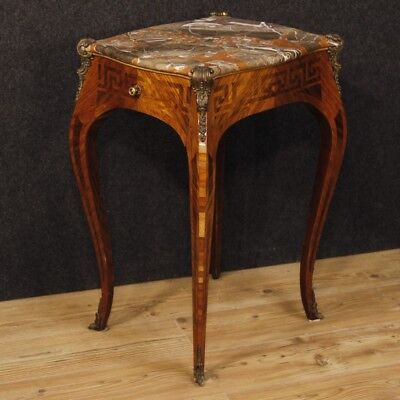 Side table French living room night stand inlaid wood antique style Louis XV