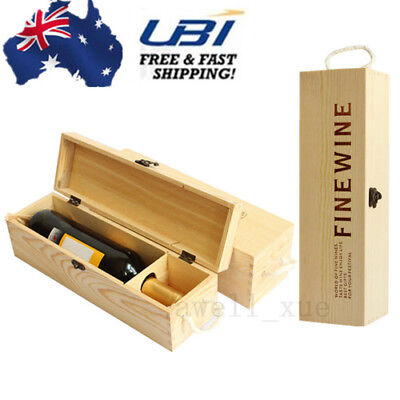FINE WINE Natural Wooden Wine Box Space Bottle Carrier Case Valentines Present