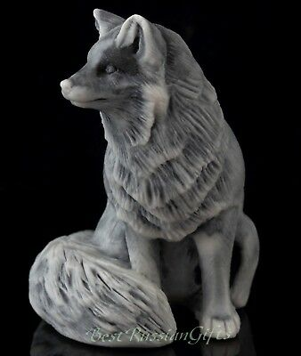 Sitting Fox Marble Figurine Russian Art Stone Sculpture Animal Statue 2 3/8""