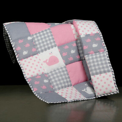 Indian Pink Cotton Handmade Quilted Soft Baby Quilt For New Born Girls and Boys