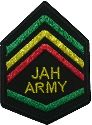 """JAH ARMY Rasta Sergeant Shoulder Chevrons Iron On Embroidered Patch 3.1""""x2.2"""""""