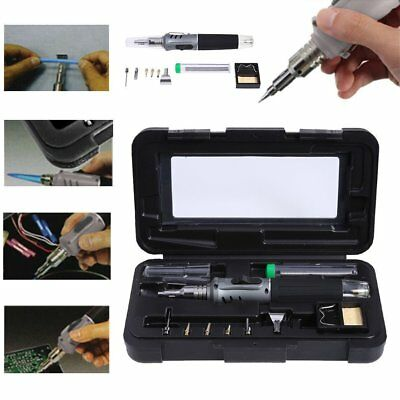 10-in-1 Set Self-Ignition Gas Soldering Iron Cordless Welding Torch Kit Tool AU