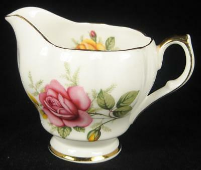 Queen Anne Pink & Yellow Roses Bone China Small Milk Jug/Creamer