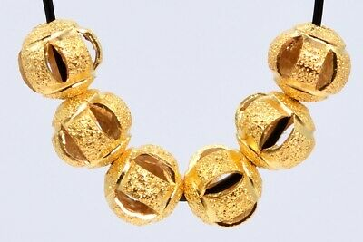 20 Pcs 6MM Gold Plated Spacer Beads Carve Round Loose Beads Hole 1.5MM