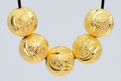 10 Pcs 8MM Gold Plated Spacer Beads Carve Round Loose Beads Hole 1.5MM
