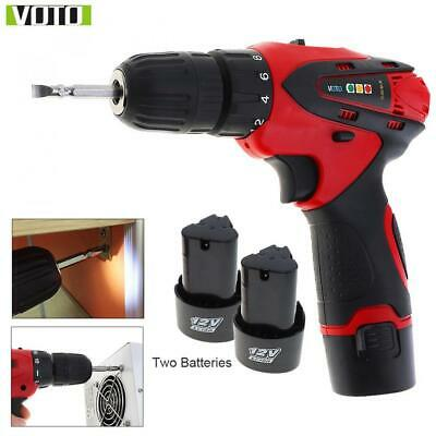 VOTO Cordless Rechargeable Screwdriver LED Light Drill Driver Adjustable Speed