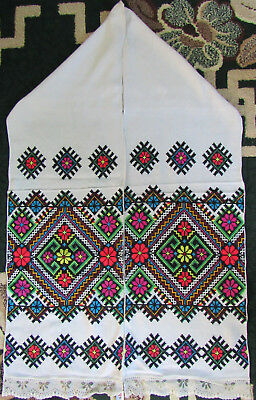 Vintage Embroidered Ukrainian folk towel rushnik handmade №321