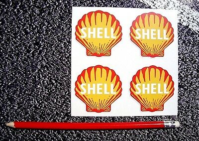 Shell Stickers old Retro Style x 4  50mm  Fuel FERRARI F1 Leman Petrol