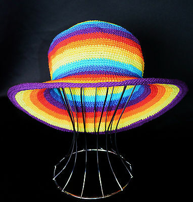 Rainbow Crochet Hat Cotton Hippy Festival Adult Unisex