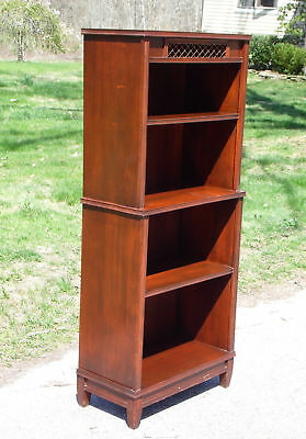 Vintage Federal Mahogany Bookcase Open Shelving Unit Display Cabinet Bookshelf