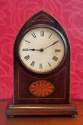 Antique French 8-Day Bracket Clock, Oak Case with Inlay