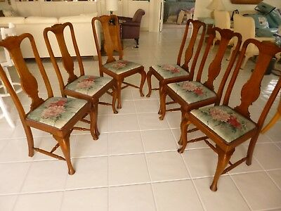 Miraculous Antique English Queen Anne Oak Dining Chairs 543 00 Dailytribune Chair Design For Home Dailytribuneorg