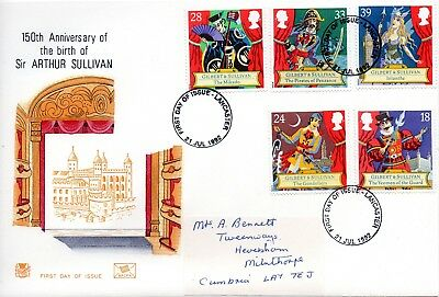 1992 Sg 1624/8 Sir Arthur Sullivan Stuart First Day Cover Lancaster Cancellation