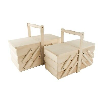 Wooden Cantilever Sewing Storage Basket With Lid /Box To Decorate Craft /2 Sizes