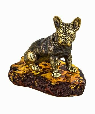 Amber Brass Dog Figurine American Bulldog Packed in Russian Birch Bark Gift Box